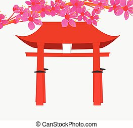 Flowers Over the Torii Gate Vector Illustration