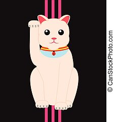 Maneki Neko Lucky Cat Vector Illustration
