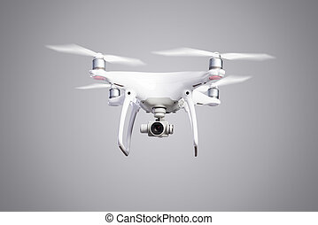 Flying helicopter drone with camera Studio shot - Flying...