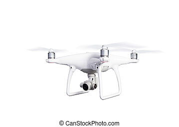 Flying helicopter drone with camera Studio shot, isolated -...