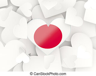 Flag of japan, heart shaped stickers