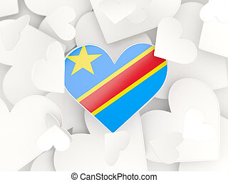 Flag of democratic republic of the congo, heart shaped...