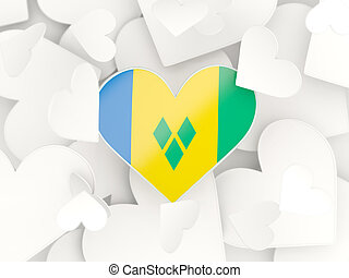 Flag of saint vincent and the grenadines, heart shaped...