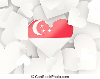 Flag of singapore, heart shaped stickers background 3D...