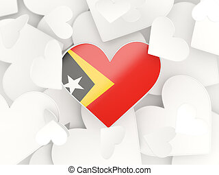 Flag of east timor, heart shaped stickers background 3D...