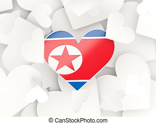 Flag of korea north, heart shaped stickers background 3D...