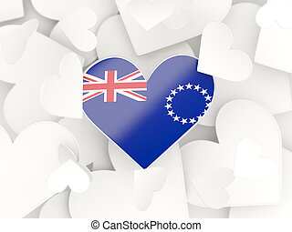 Flag of cook islands, heart shaped stickers background 3D...