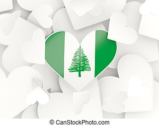 Flag of norfolk island, heart shaped stickers