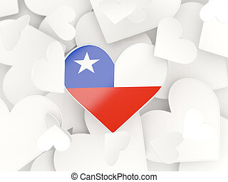 Flag of chile, heart shaped stickers