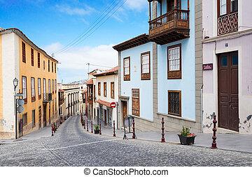 La Orotava, Tenerife village - street of La Orotava,...