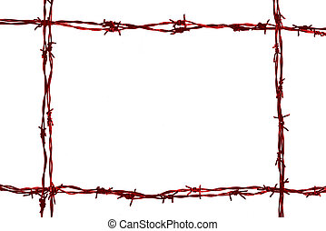 barbed wire frame on the white background