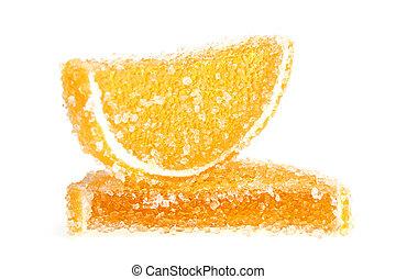 Jujube - orange jelly candy isolated on white background