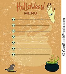 background pattern for menu on Halloween, a place for your text