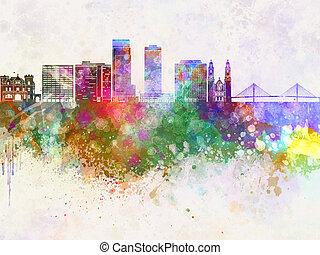 Omaha V2 skyline in wb - Omaha V2 skyline in watercolor...