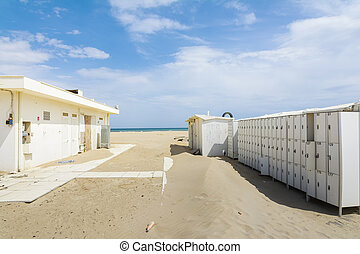 Abandoned bathhouse - Rimini,Italy-April 17,2015:bathhouse...