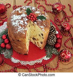 Panettone Christmas Cake - Panettone christmas cake, holly,...