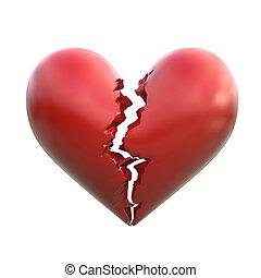 broken heart 3d  isolated illustration