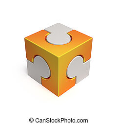 cubical jigsaw icon 3d rendering