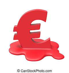 Euro meltdown 3d isolated illustration