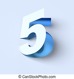 cut out paper font number 5 3D isolated illustration