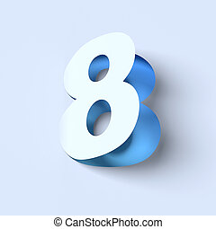 cut out paper font number 8 3D isolated illustration