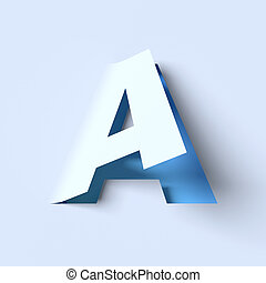 cut out paper font letter A 3D isolated illustration