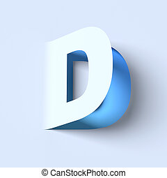 cut out paper font letter D 3D isolated illustration
