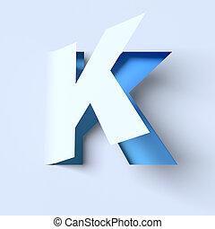 cut out paper font letter K - cut out paper font letter K 3d...
