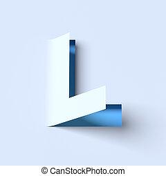 cut out paper font letter L - cut out paper font letter L 3d...