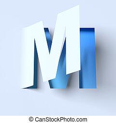 cut out paper font letter M - cut out paper font letter M 3d...