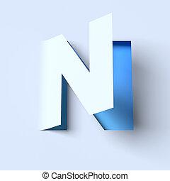 cut out paper font letter N - cut out paper font letter N 3d...