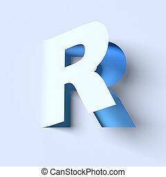 cut out paper font letter R - cut out paper font letter R 3d...