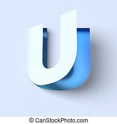 cut out paper font letter U - cut out paper font letter U 3d...