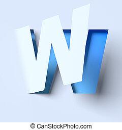 cut out paper font letter W - cut out paper font letter W 3d...