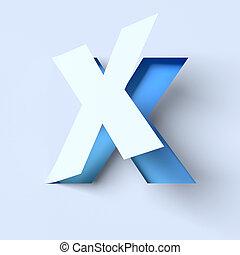 cut out paper font letter X - cut out paper font letter X 3d...