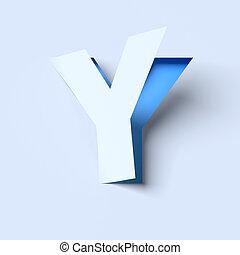 cut out paper font letter Y - cut out paper font letter Y 3d...