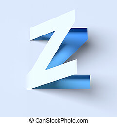 cut out paper font letter Z 3d isolated illustration
