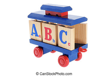 Toy Train with Alphabet Blocks on White Background