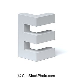 Isometric font letter E 3d rendering isolated illustration