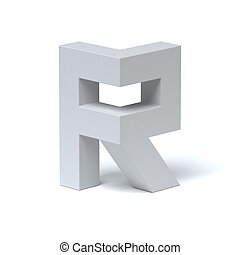 Isometric font letter R 3d rendering isolated illustration