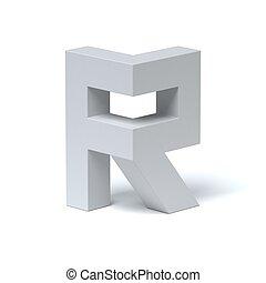 Isometric font letter R 3d rendering isolated illustration