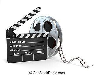 movie clapper and film reel 3d illustration