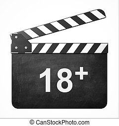 movie clapper with rate 18   isolated illustration