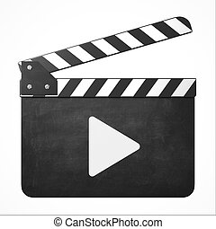 movie clapper with play sign 3d isolated illustration