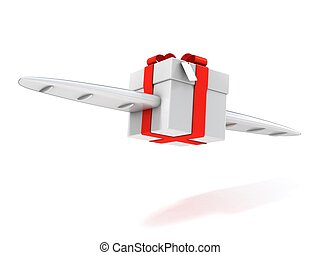 present with wings  3d isolated illustration
