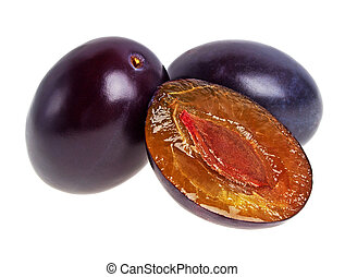 Two fresh plums on a white background