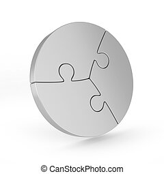 three piece circular puzzle  isolated illustration
