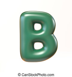 Bubbly 3d font letter B isolated illustration