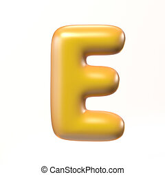 Bubbly 3d font letter E isolated illustration