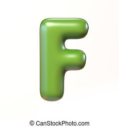 Bubbly 3d font letter F isolated illustration